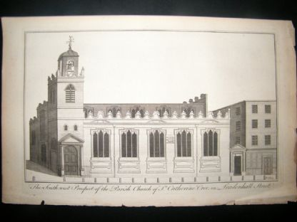 Maitland 1756 Architecture Print, St. Catherine Church, Leadenhall St. London UK | Albion Prints